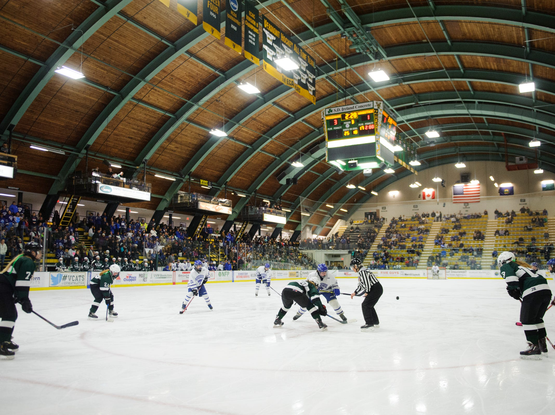 Missisquoi and Woodstock face off during the DII girls hockey championship game between the Woodstock Wasps and the Missisquoi Thunderbirds at Gutterson Field House on Thursday night March 14, 2019 in Burlington, Vermont.