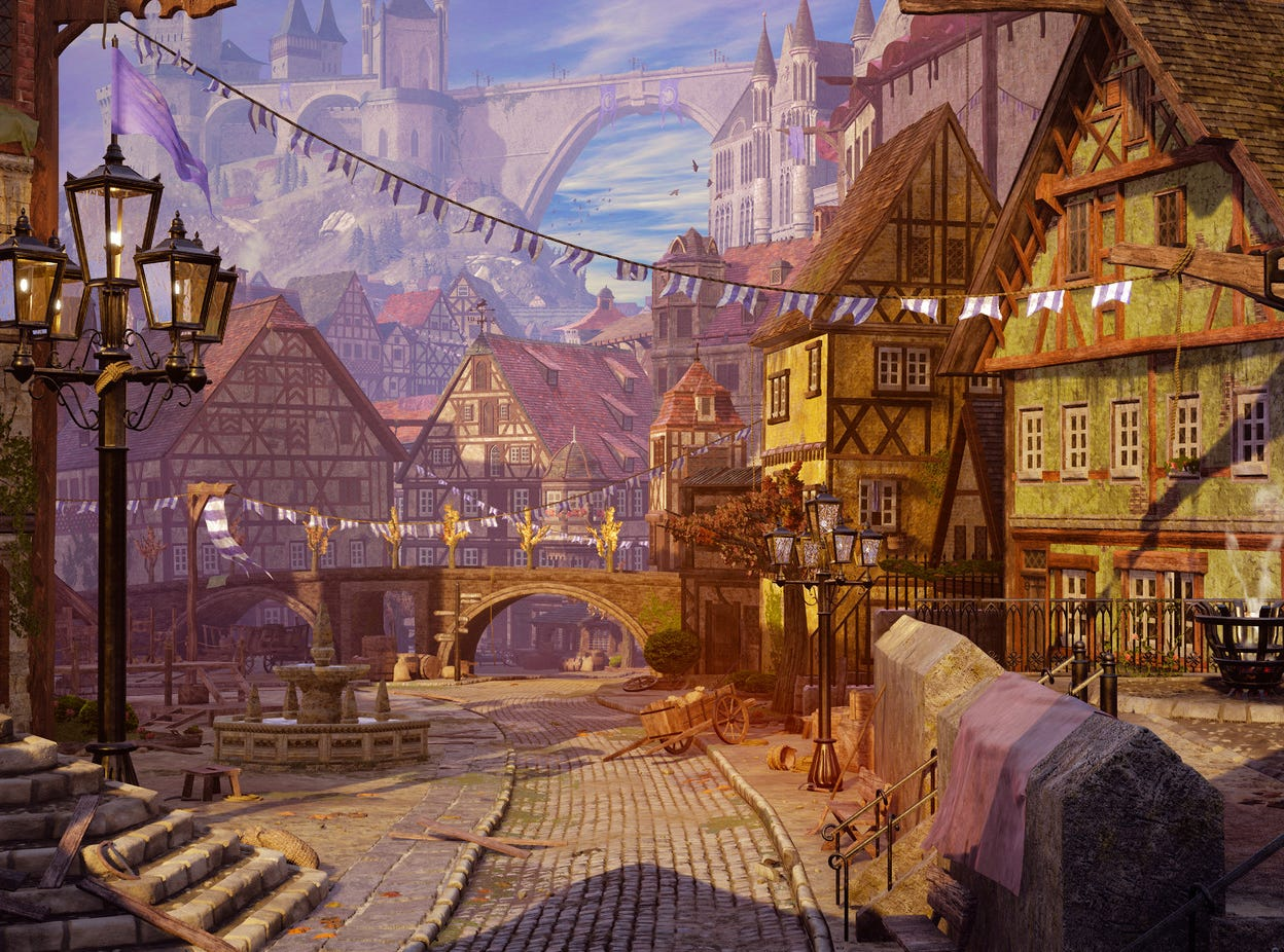 "Brennan Howell, an environment art student at Champlain College, presents a 3D class project in his online portfolio he titled ""Grand Square."" See more at www.artstation.com/bdahowell"