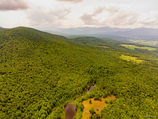 An aerial view of the 750-acre property in Stowe that may be conserved.