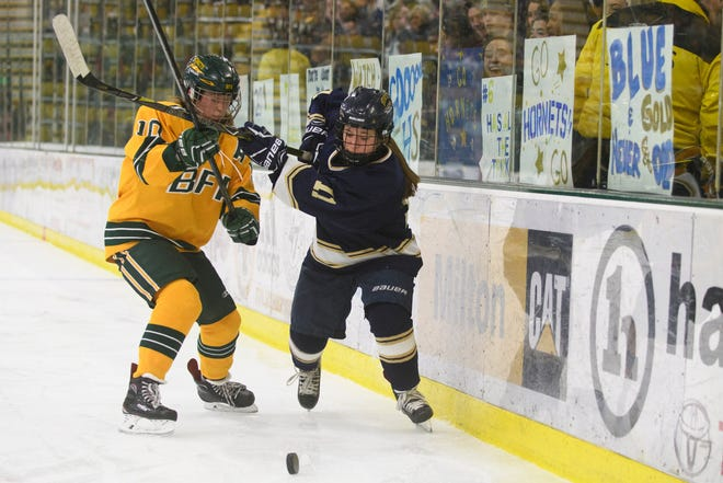 BFA's Lizzie Hill (10) battles for the puck with Essex's Francesca Martin (11) during the DI girls hockey championship game between the Essex Hornets and the BFA St. Albans Comets at Gutterson Field House on Thursday night March 14, 2019 in Burlington, Vermont.