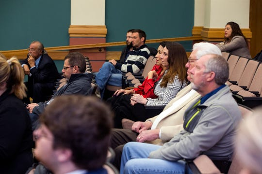 Members of the public attend an update by Mayor Joe McComb on the city manager search and the next steps going forward during a press conference on Friday, March 15, 2019. The city has been without a permanent city manager since Margie Rose resigned in May 2018.