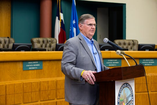 Mayor Joe McComb gives an update on the city manager search and the next steps going forward during a press conference on Friday, March 15, 2019. The city has been without a permanent city manager since Margie Rose resigned in May 2018.