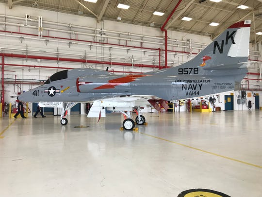 A TA-4J was restored to match the aircraft Commander Everett Alvarez Jr. flew in when he was shot down in August 1964. He was captured and imprisoned in Vietnam for eight years and seven months.