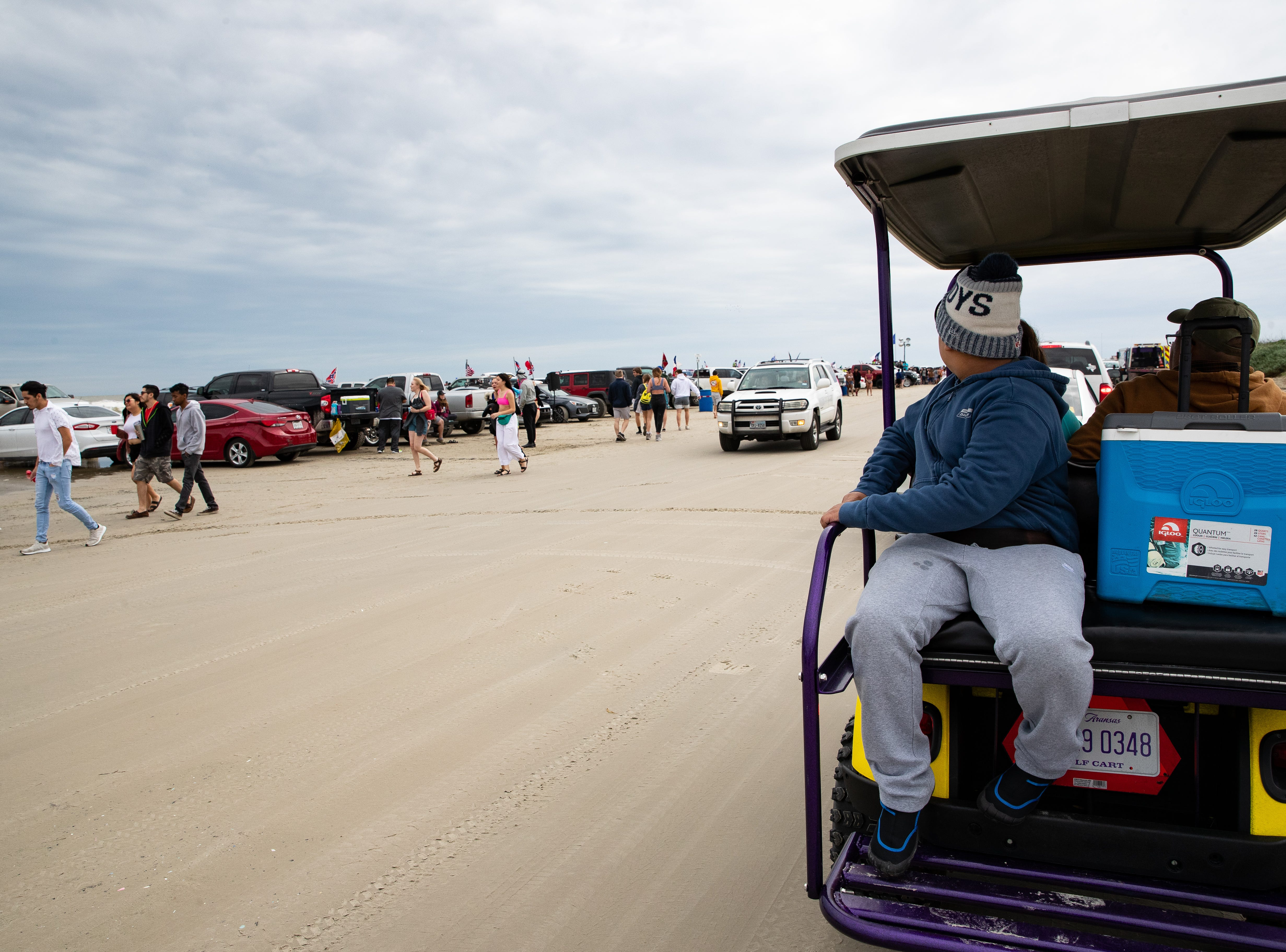 People celebrate spring break 2019 on the beach in Port  Aransas on Friday, March, 15, 2019.