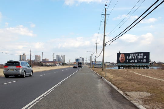 A billboard along the Black Horse Pike in Atlantic City compelled many passersby to call or text the advertised number with birthday greetings. The billboard was a unique gift for Linwood's Chris Ferry from his grown sons.