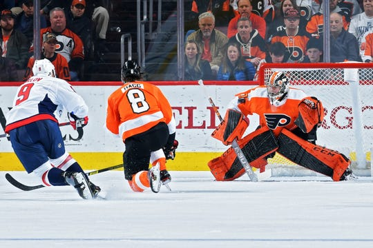 Carter Hart made 27 saves on 31 shots in his first game back after missing three weeks with an ankle injury.
