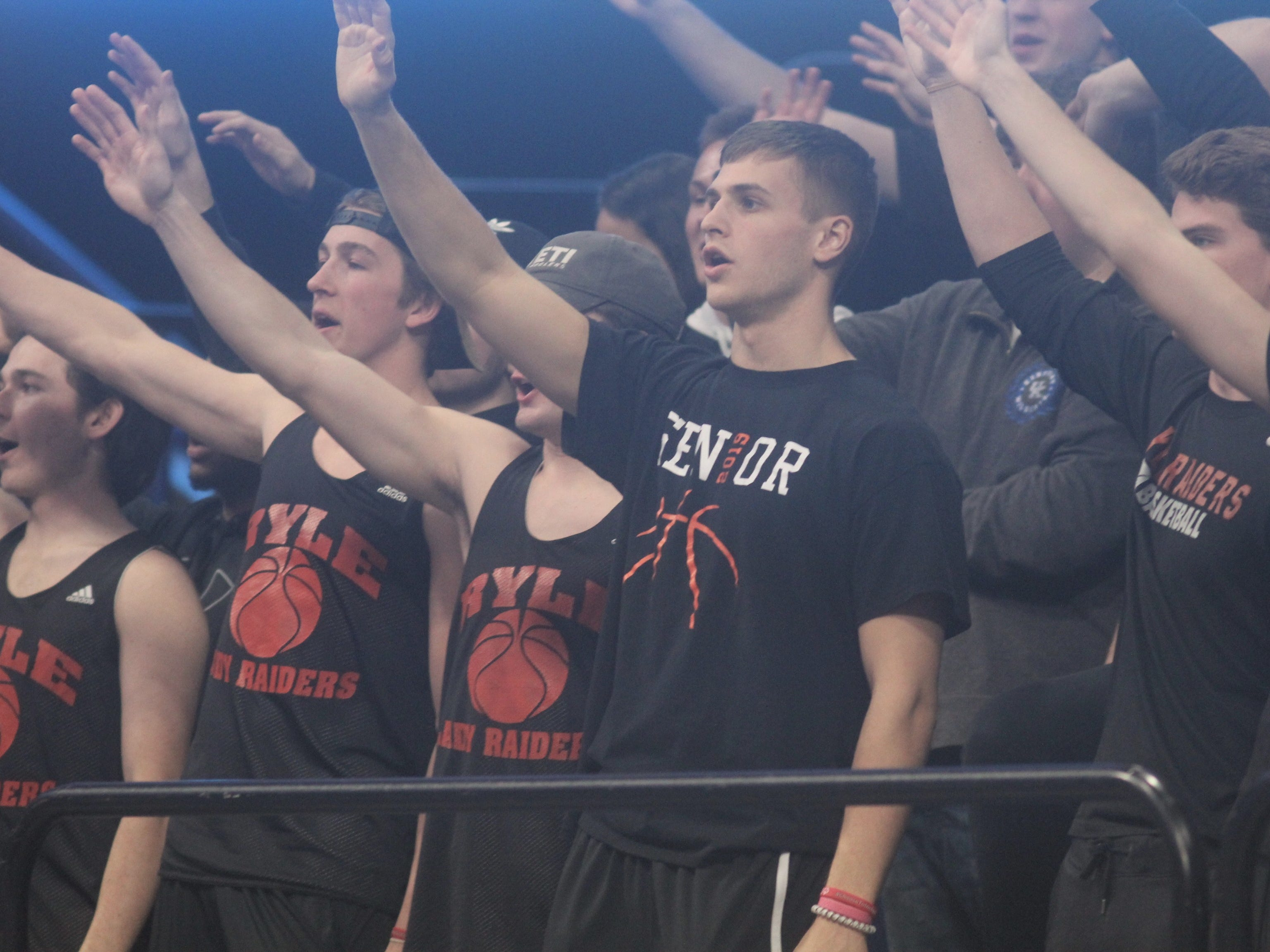 Ryle students cheer on their Raiders as Ryle defeated George Rogers Clark 64-51 in the state quarterfinals of the KHSAA Sweet 16 girls basketball tournament March 15, 2019 at Rupp Arena, Lexington KY.