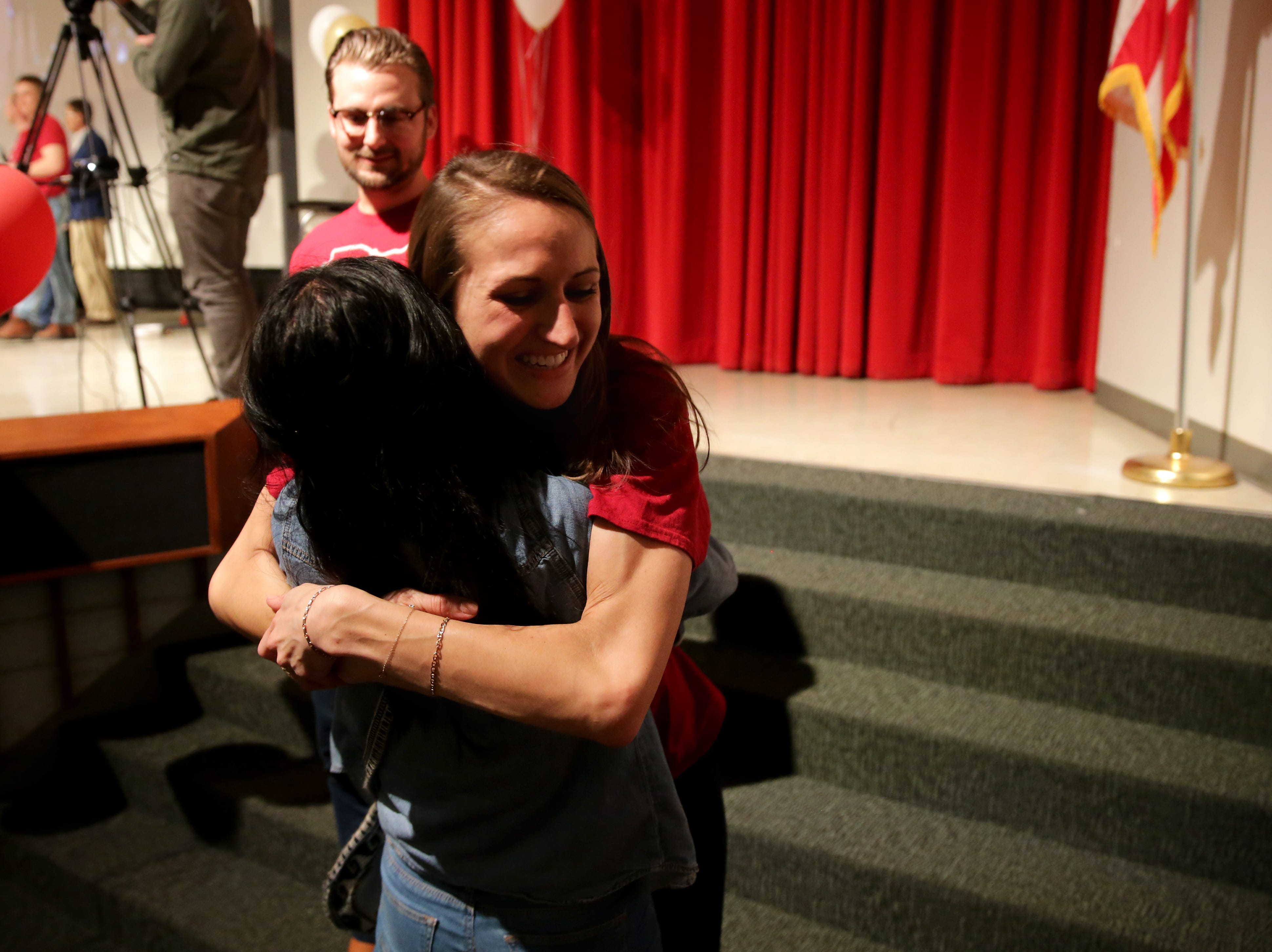 Paige Schroeder is hugged by Katherine Chang after finding out she will be doing her residency in anesthesia at the University of Alabama-Birmingham during Match Day, Friday, March 15, 2019, at the University of Cincinnati's College of Medicine.