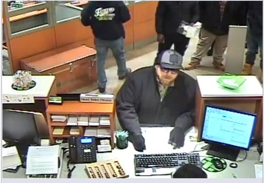 A surveillance image of the Piscataway bank robbery suspect.