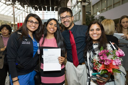 Akanksha Arya celebrates with family and friends after learning she matched Thomas Jefferson University for internal medicine.