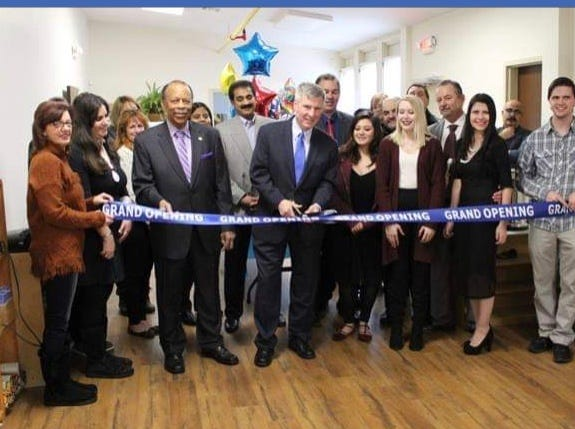 Pictured at the grand opening of preschool Montessori Matters are (left to right) Sally Baker, Demetra Wagner, Councilman Jim Bullard, Mayor Brian C. Wahler, Alyssa Remantas, Amber Reisert, Nick Giannakopoulos, Director Cynthia A. Giannakopoulos andZack Giannakopoulos.