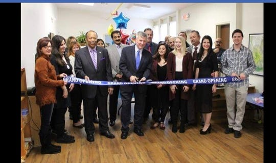 Pictured at the grand opening of preschool Montessori Matters are (left to right) Sally Baker, Demetra Wagner, Councilman Jim Bullard, Mayor Brian C. Wahler, Alyssa Remantas, Amber Reisert, Nick Giannakopoulos, Director Cynthia A. Giannakopoulos and Zack Giannakopoulos.