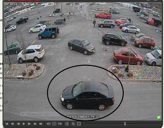 A surveillance image of the Piscataway bank robbery 's car.