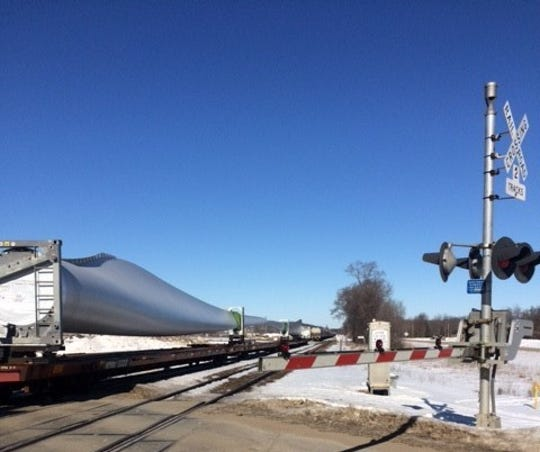 According to local residents, this Union Pacific train loaded with wind mill blades closed down the only access point for a Carlisle neighborhood for more than an hour March 3.