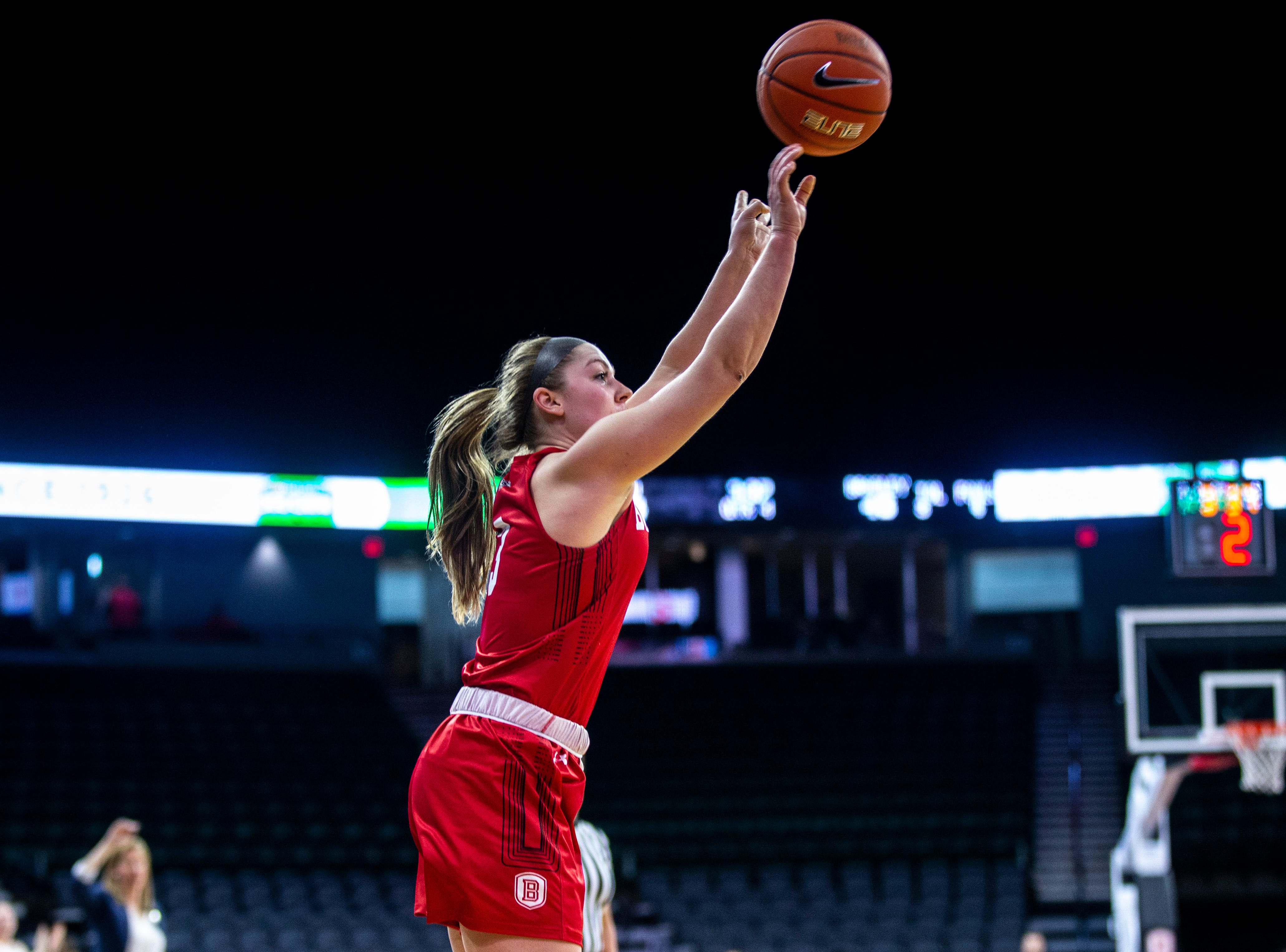 Bradley guard Aannah Interrante attempts a 3-point basket during a NCAA Missouri Valley Conference women's basketball quarterfinal tournament game, Friday, March 15, 2019, at the TaxSlayer Center in Moline, Illinois.