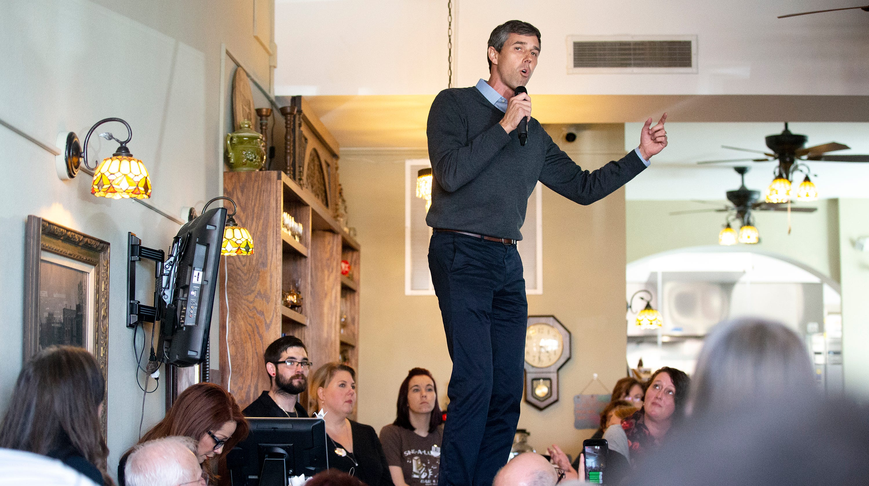 Beto O'Rourke, Democratic candidate for president, speaks to an at-capacity crowd inside the Sing-A-Long Bar and Grill on Friday, March 15, 2019, in Mount Vernon. This is O'Rourke's first trip to Iowa after announcing his campaign.