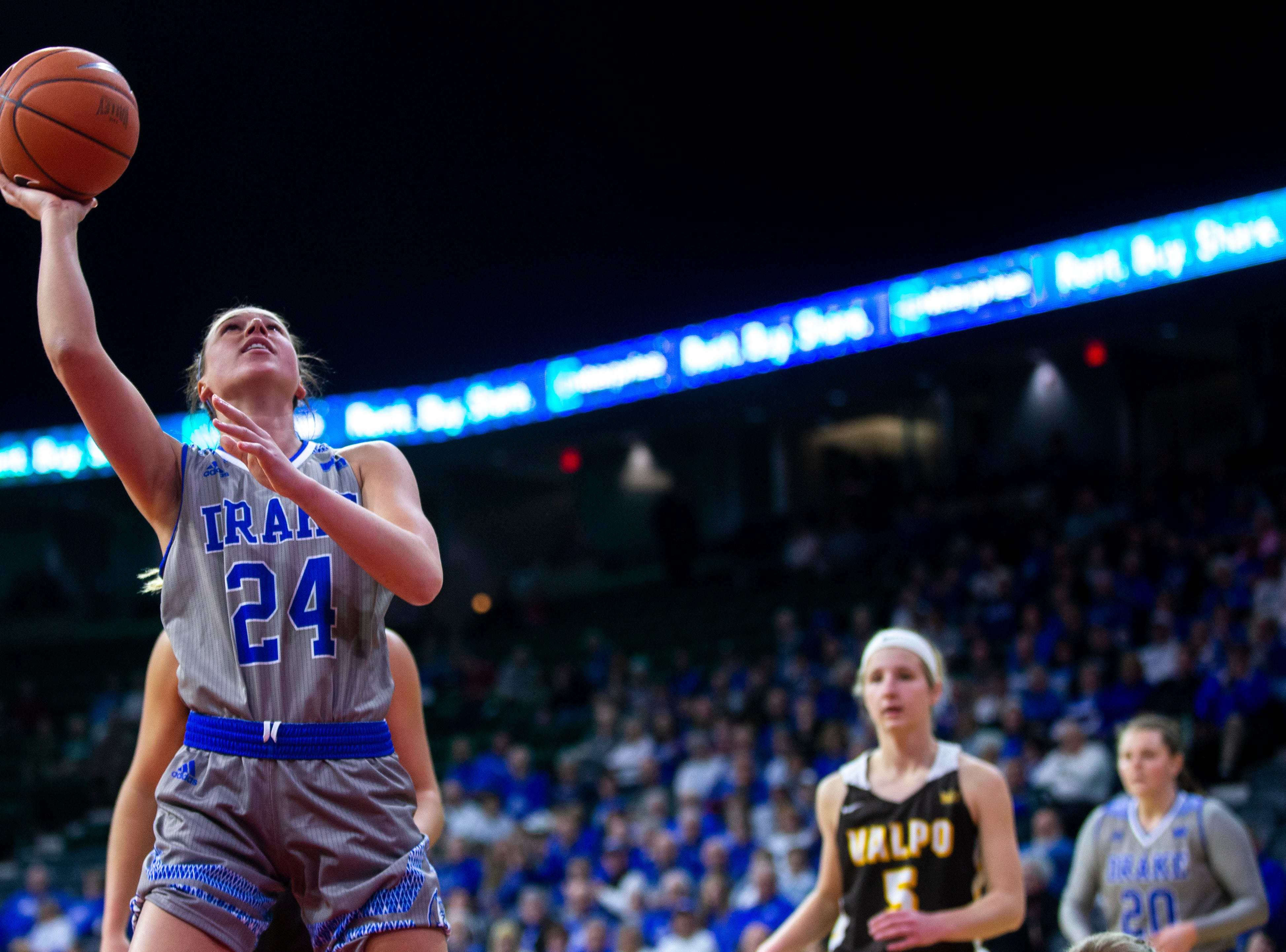 Drake guard Nicole Miller (24) makes a basket during a NCAA Missouri Valley Conference women's basketball quarterfinal tournament game, Friday, March 15, 2019, at the TaxSlayer Center in Moline, Illinois.