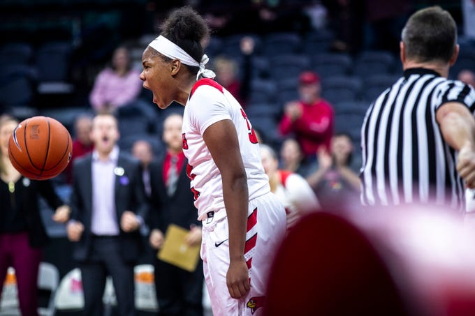Illinois State forward Simone Goods (32) reacts after drawing a foul during a NCAA Missouri Valley Conference women's basketball quarterfinal tournament game, Friday, March 15, 2019, at the TaxSlayer Center in Moline, Illinois.