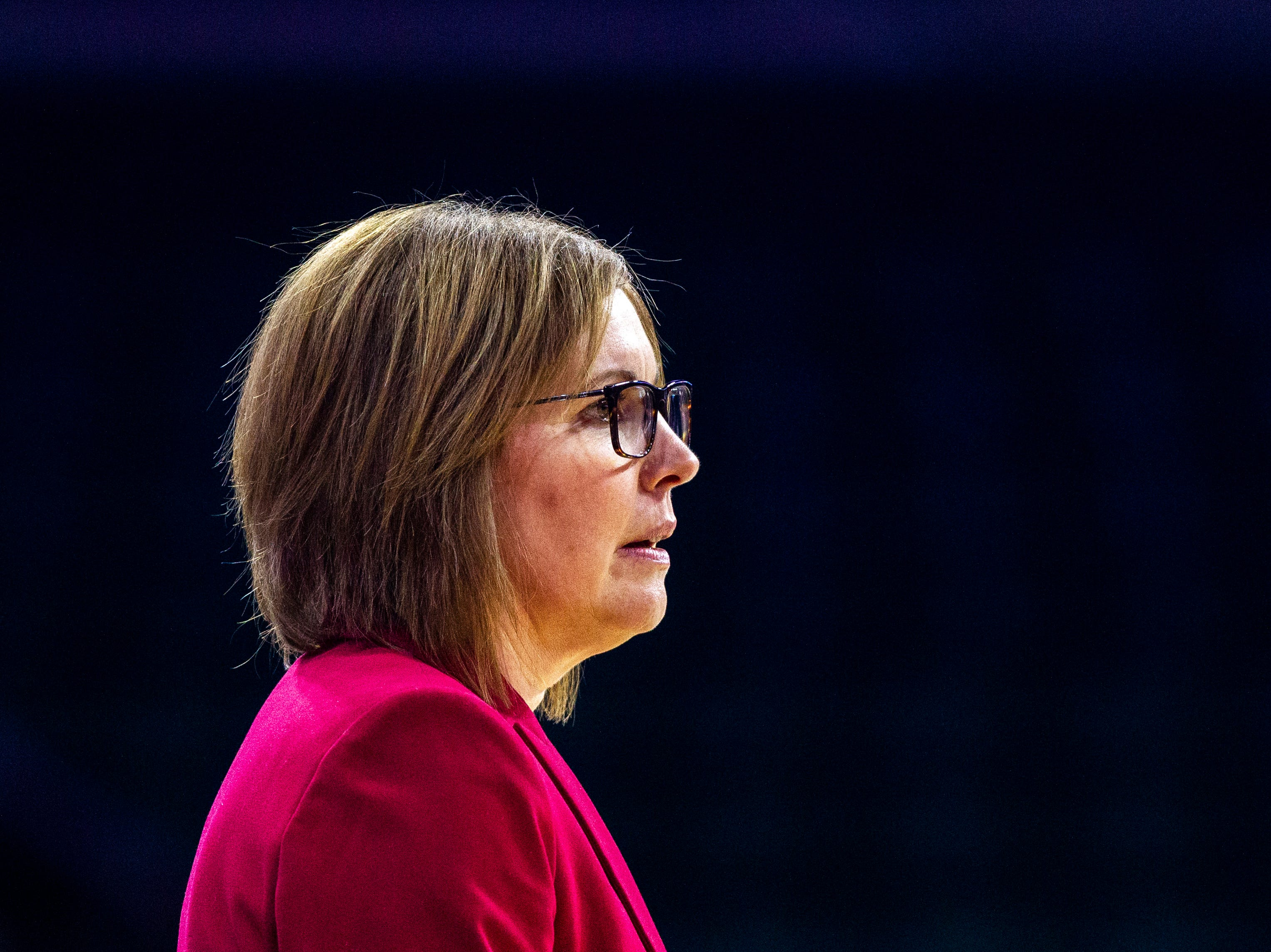 Bradley head coach Andrea Gorski looks on during a NCAA Missouri Valley Conference women's basketball quarterfinal tournament game, Friday, March 15, 2019, at the TaxSlayer Center in Moline, Illinois.