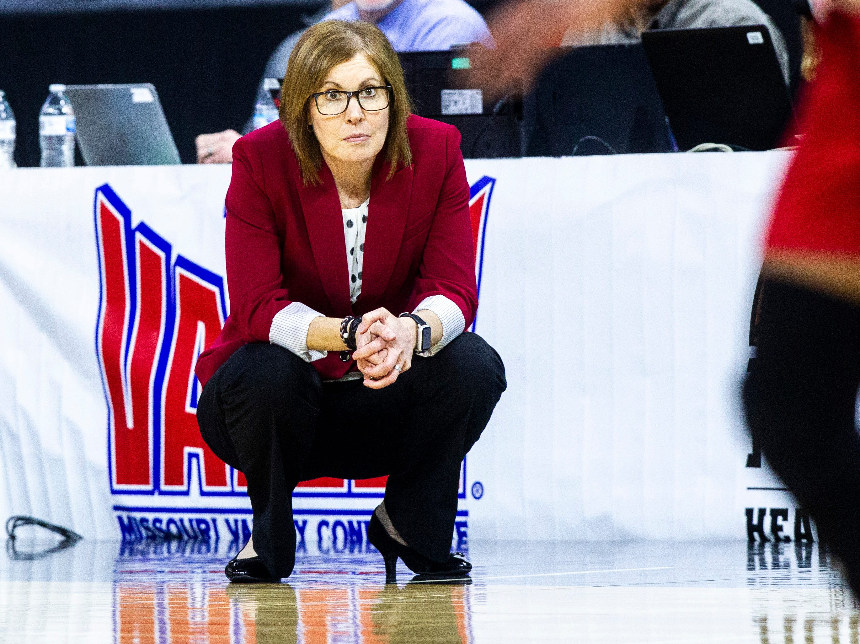 Bradley head coach Andrea Gorski watches play from the baseline during a NCAA Missouri Valley Conference women's basketball quarterfinal tournament game, Friday, March 15, 2019, at the TaxSlayer Center in Moline, Illinois.