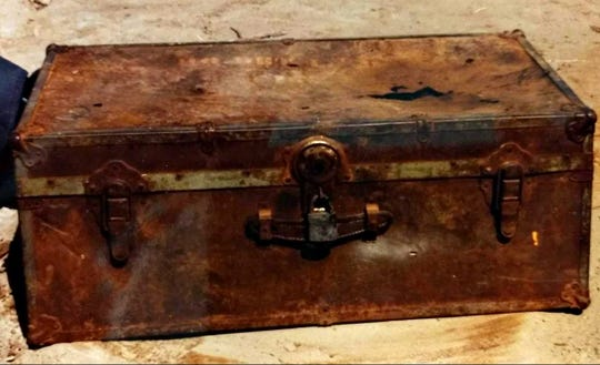 This trunk, opened in Wyoming in 1992, contained the remains of an Iowa man who disappeared in 1963. He wasn't positively identified as Joseph Mulvaney until 2017. Examination of the bones showed  Mulvaney had been shot through the eye and in the chest.