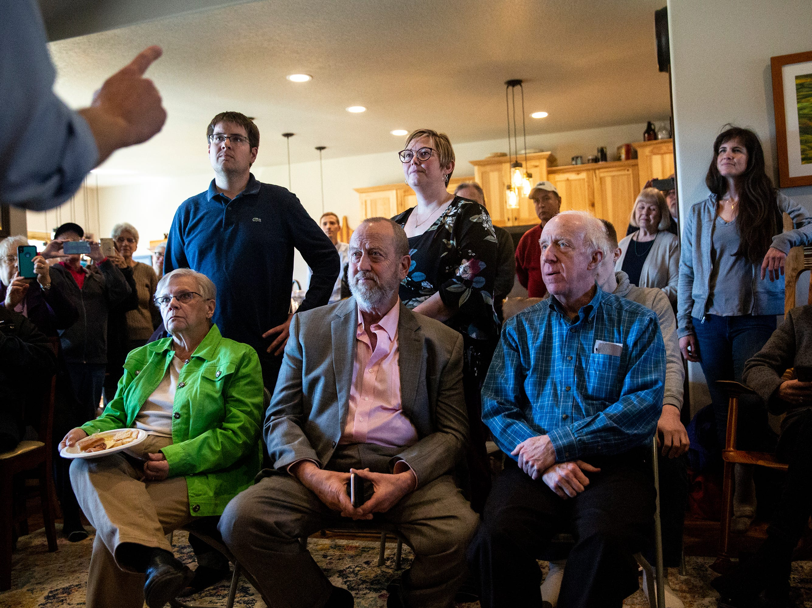 The crowd listens to Beto O'Rourke, Democratic candidate for president, at a house party on Friday, March 15, 2019, in Fairfield. This is O'Rourke's first trip to Iowa after announcing his campaign.