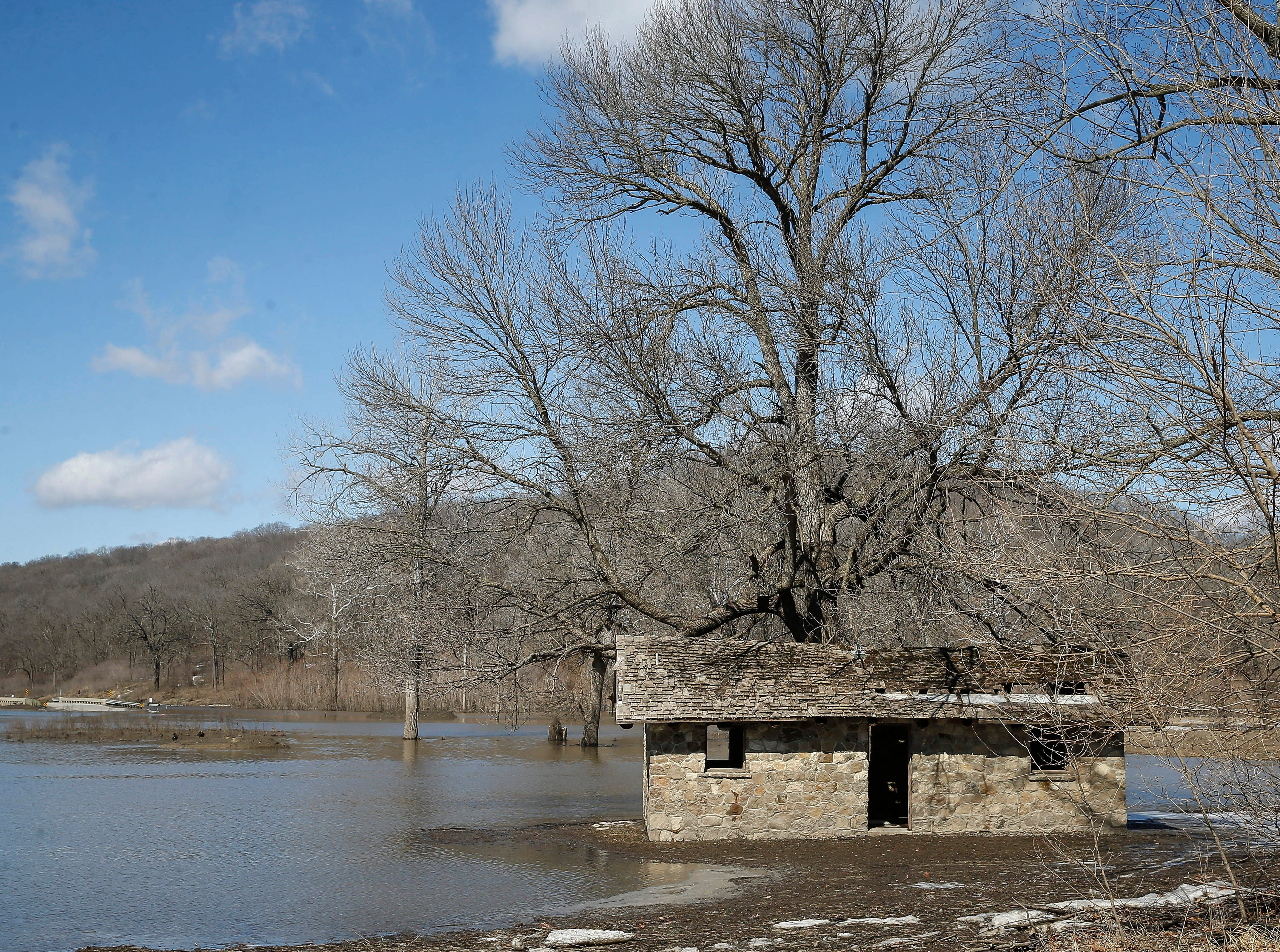 A portion of Ledges Park was under water as the Des Moines River flooded the area on Friday, March 15, 2019.