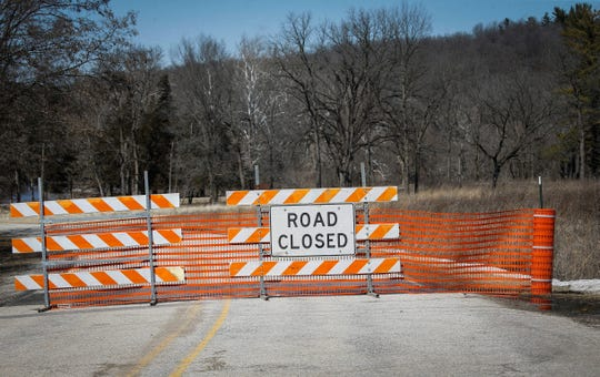 Water from the swollen Des Moines River caused the Lower Ledges road to close due to water covering the road on Friday, March 15, 2019.