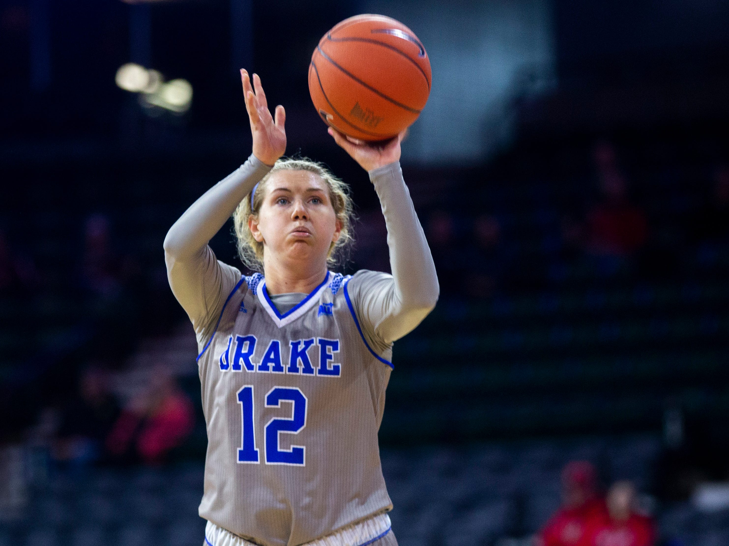 Drake's Brenni Rose (12) shoots a basket during a NCAA Missouri Valley Conference women's basketball quarterfinal tournament game, Friday, March 15, 2019, at the TaxSlayer Center in Moline, Illinois.