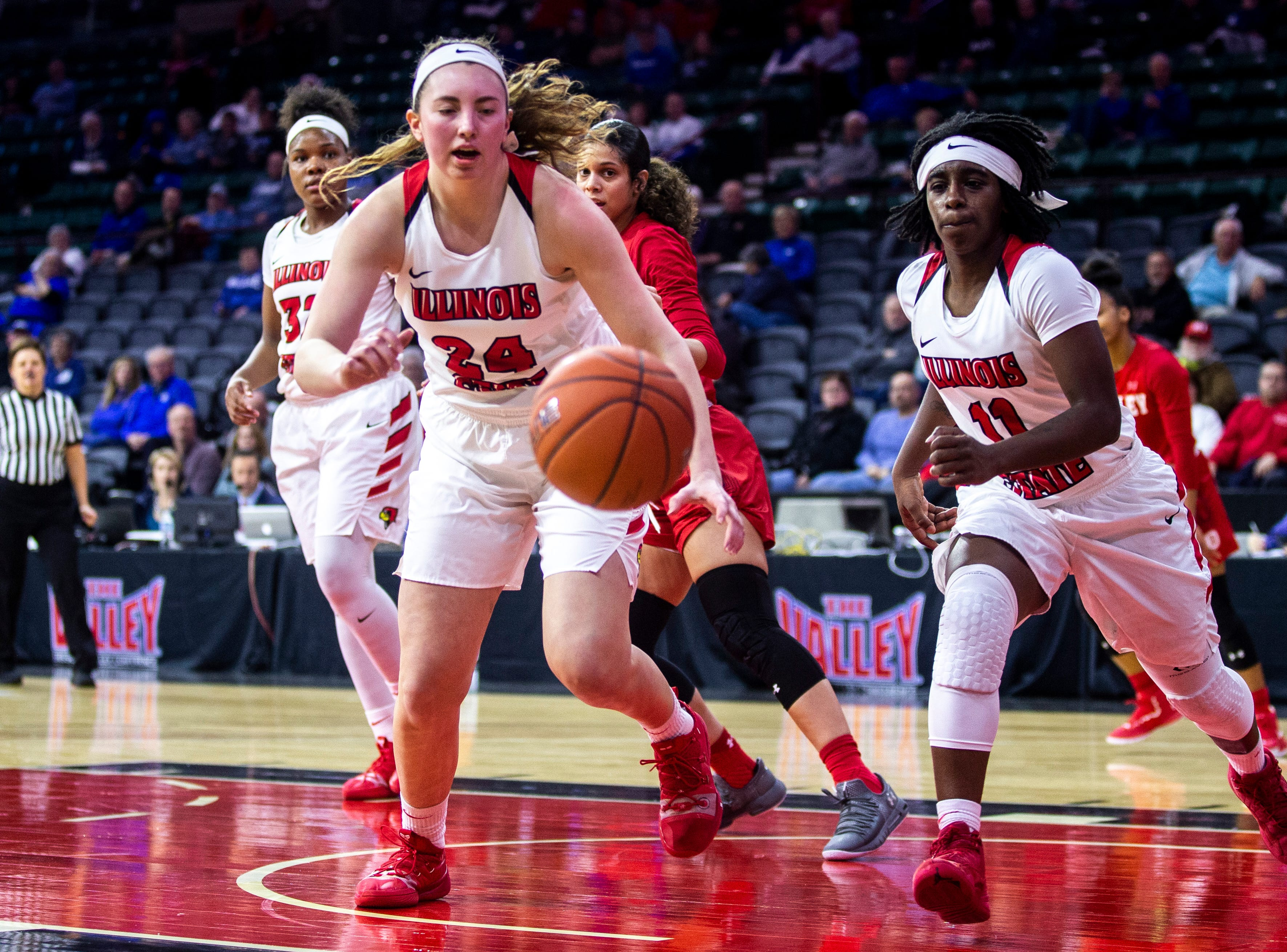 Illinois State forward Megan Talbot (24) runs for a loose ball during a NCAA Missouri Valley Conference women's basketball quarterfinal tournament game, Friday, March 15, 2019, at the TaxSlayer Center in Moline, Illinois.