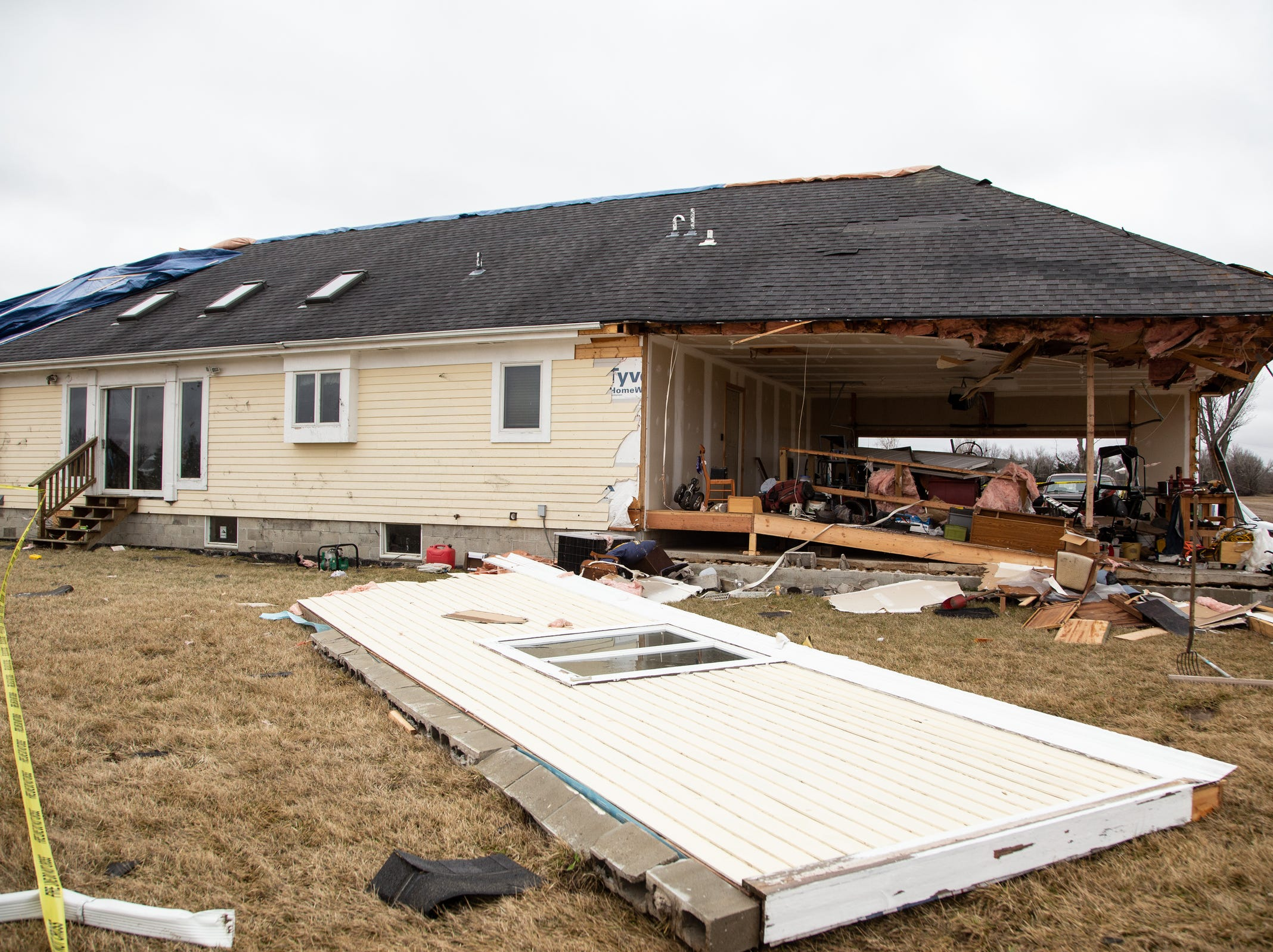 A damaged home in Vernon is seen on Friday, March 15, 2019 after a tornado came through Shiawassee County.