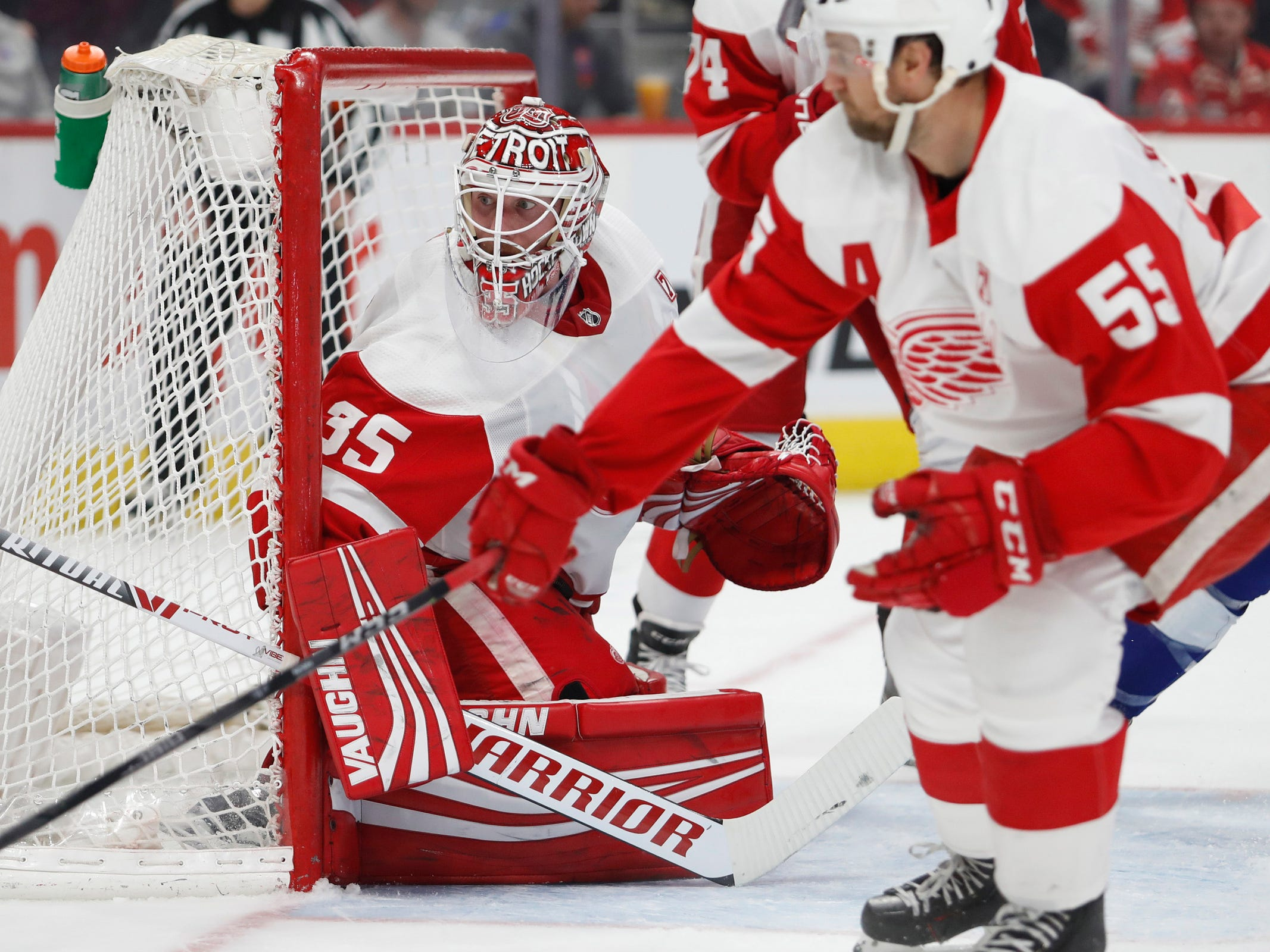 Detroit Red Wings goaltender Jimmy Howard (35) protects the net during the first period against the Tampa Bay Lightning at Little Caesars Arena on Thursday, March 14, 2019, in Detroit.