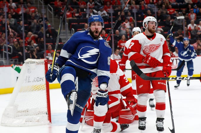 Tampa Bay Lightning's Nikita Kucherov celebrates his goal against the Detroit Red Wings in the third period of an NHL hockey game, Thursday, March 14, 2019, in Detroit. Tampa Bay won 5-4.