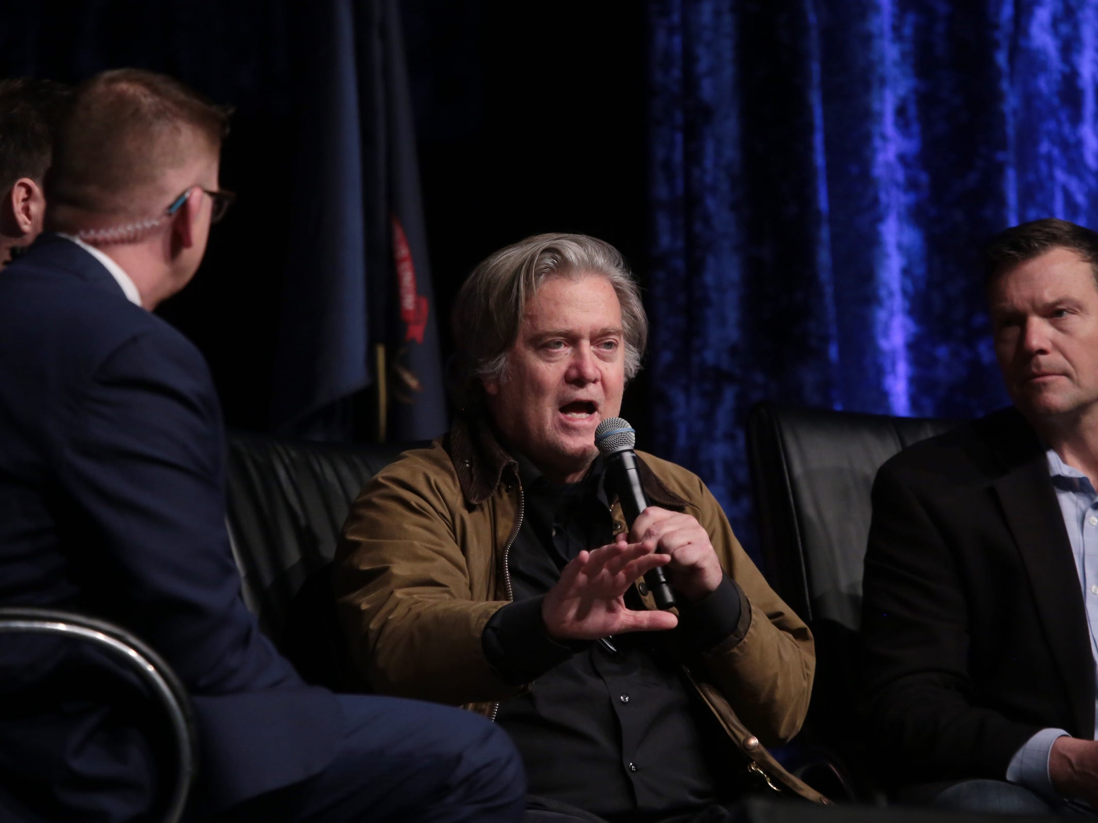 "Steve Bannon, former Exec. Chair of far-right Breitbart News & former chief strategist of Trump White House speaks at Cobo Center in downtown Detroit on Thursday, March 14, 2019 during stop on his nationwide tour named ""We Build the Wall"" in support Trump's wish for $7-billion expansion of border wall with Mexico, aimed at stopping illegal immigration."