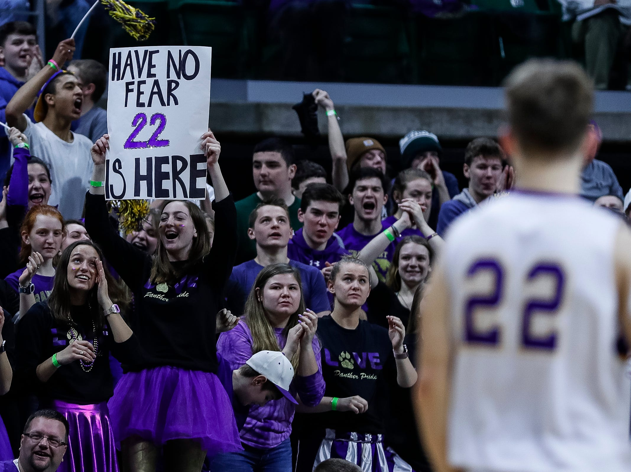 Frankfort fans cheer for the Panthers during the second half of MHSAA Division 4 semifinal against Wyoming Tri-unity Christian  at the Breslin Center in East Lansing, Thursday, March 14, 2019.