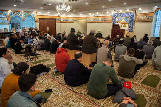 Imam Mohammad Ali Elahi addresses the mass shooting at two mosques in New Zealand during prayers at The Islamic House of Wisdom in Dearborn Heights on Friday, March 15, 2019.