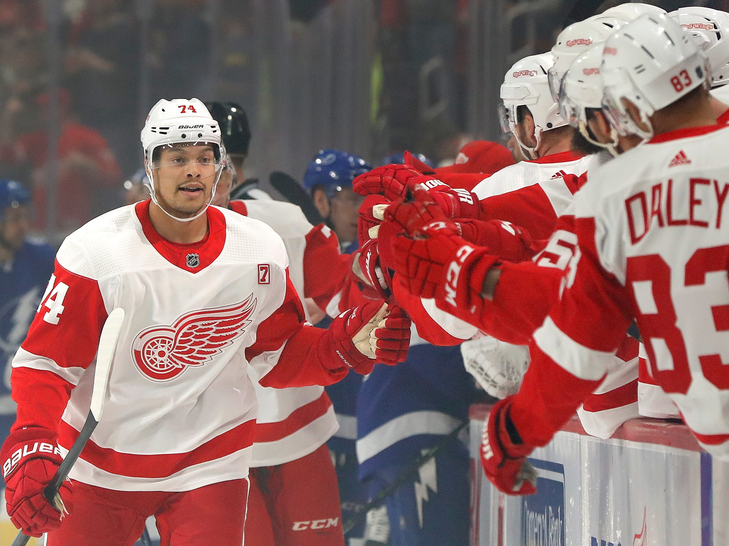 Detroit Red Wings defenseman Madison Bowey celebrates his goal against the Tampa Bay Lightning in the first period of an NHL hockey game against the Tampa Bay Lightning, Thursday, March 14, 2019, in Detroit.