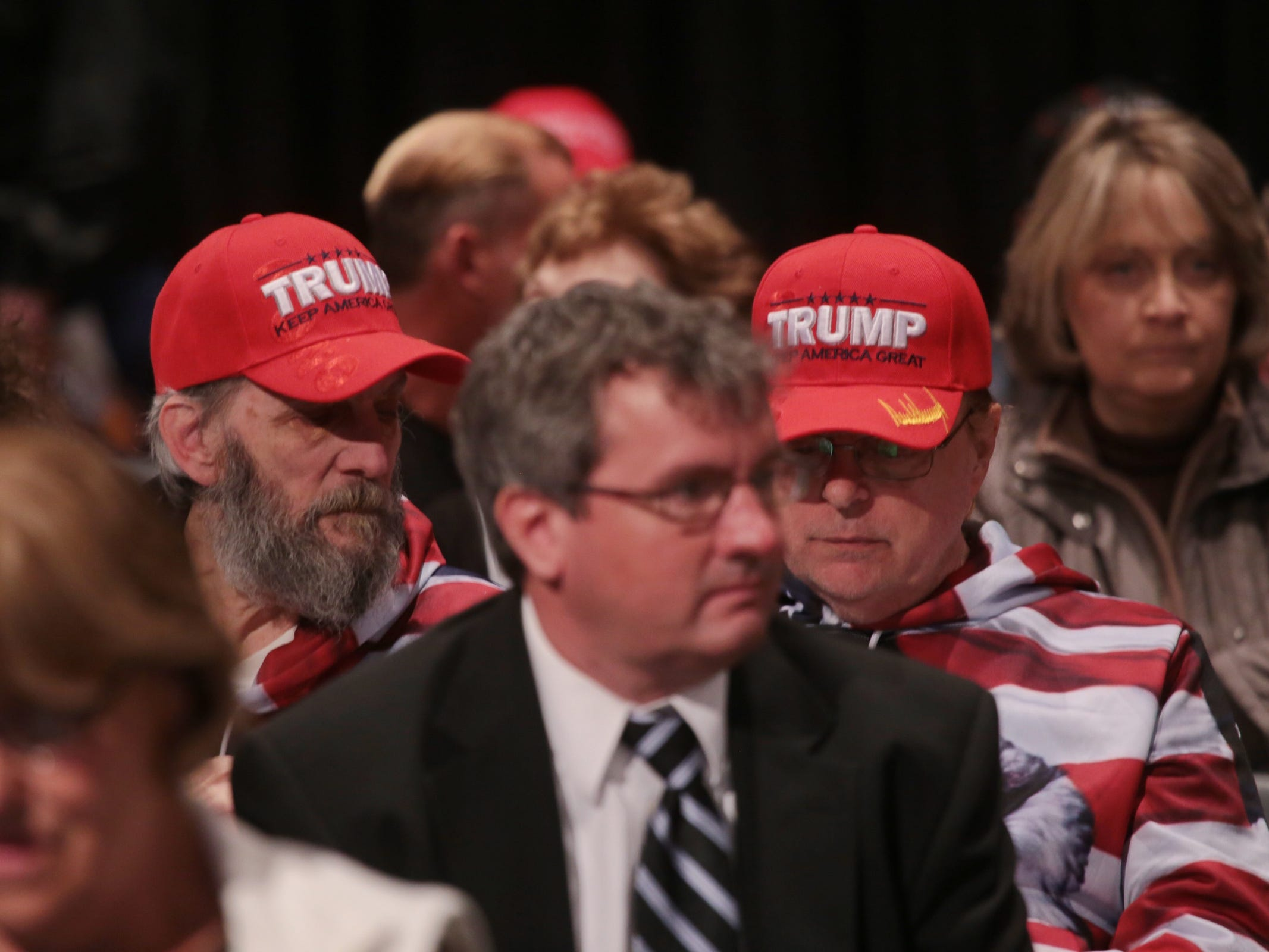 "Trump supporters wait for the start of Steve Bannon's nationwide tour stop named ""We Build the Wall"" in support Trump's wish for $7-billion expansion of border wall with Mexico, aimed at stopping illegal immigration on Thursday, March 14, 2019 at Cobo Center in downtown Detroit."