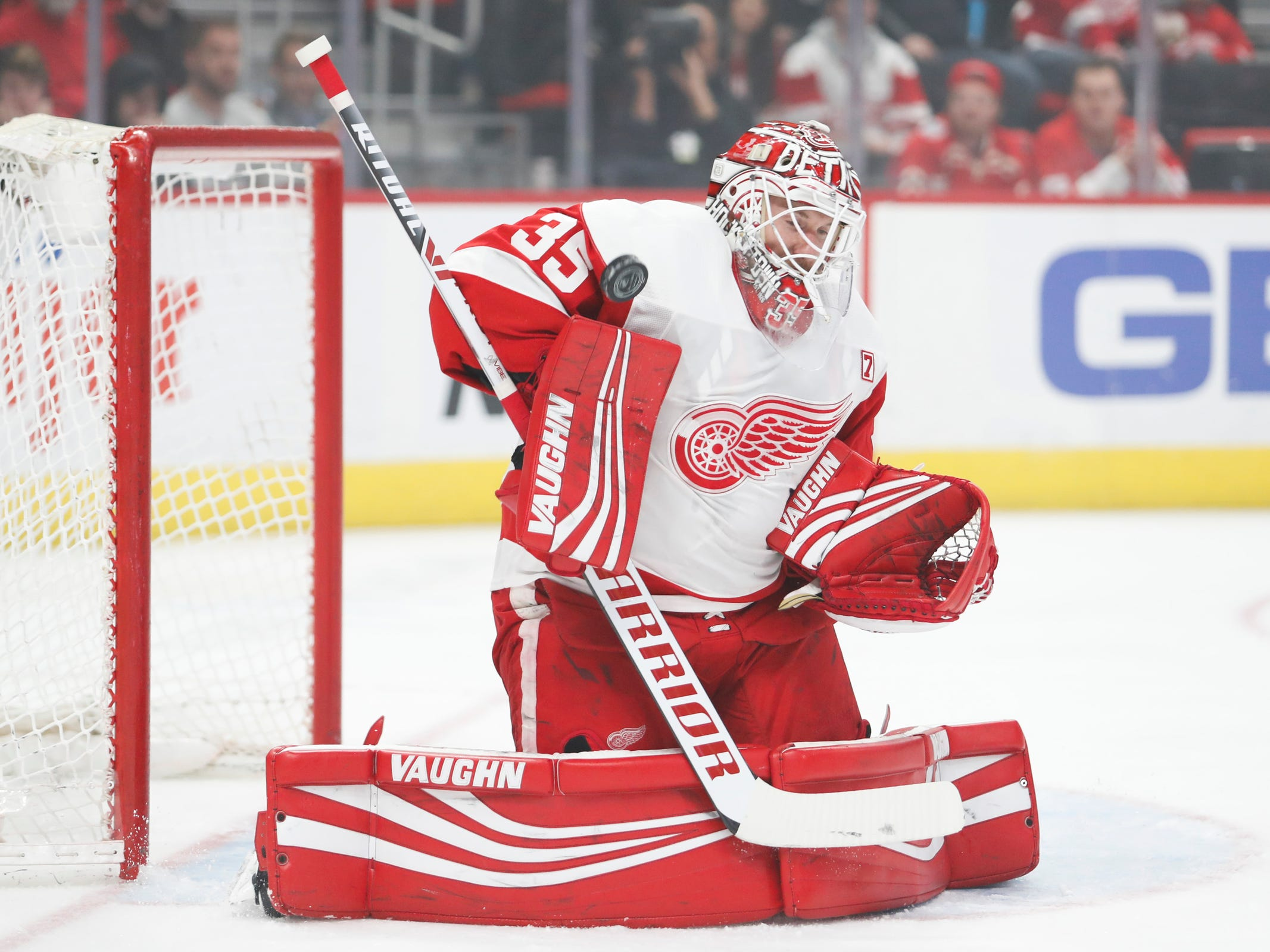 Detroit Red Wings goaltender Jimmy Howard (35) makes a save during the first period against the Tampa Bay Lightning at Little Caesars Arena on Thursday, March 14, 2019, in Detroit.