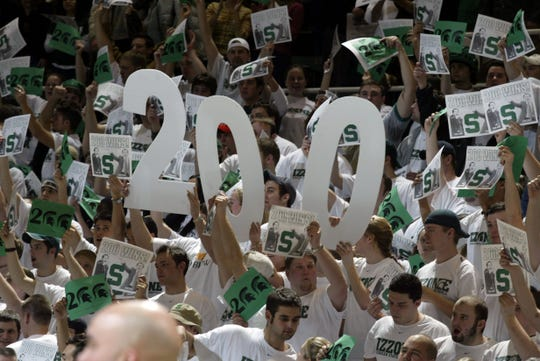 It was the turn of the second century for the Izzone as they celebrated coach Tom Izzo's 200th career victory, which came against Iowa at the Breslin Center in East Lansing on Feb. 4, 2004.