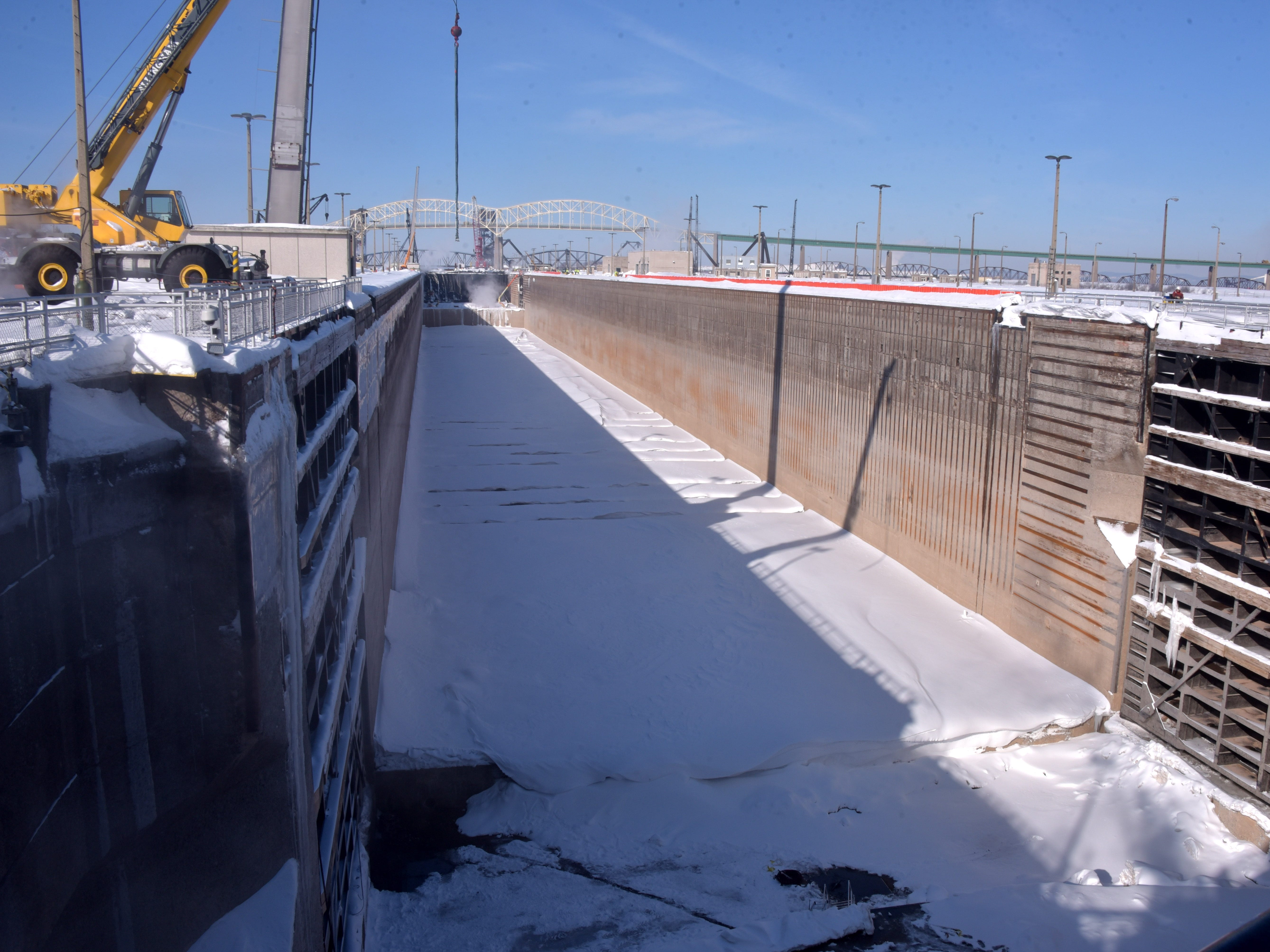 The Poe Lock, 1,350 feet long, is empty of water, after repairs and maintenance wind down during a 10-week maintenance schedule.