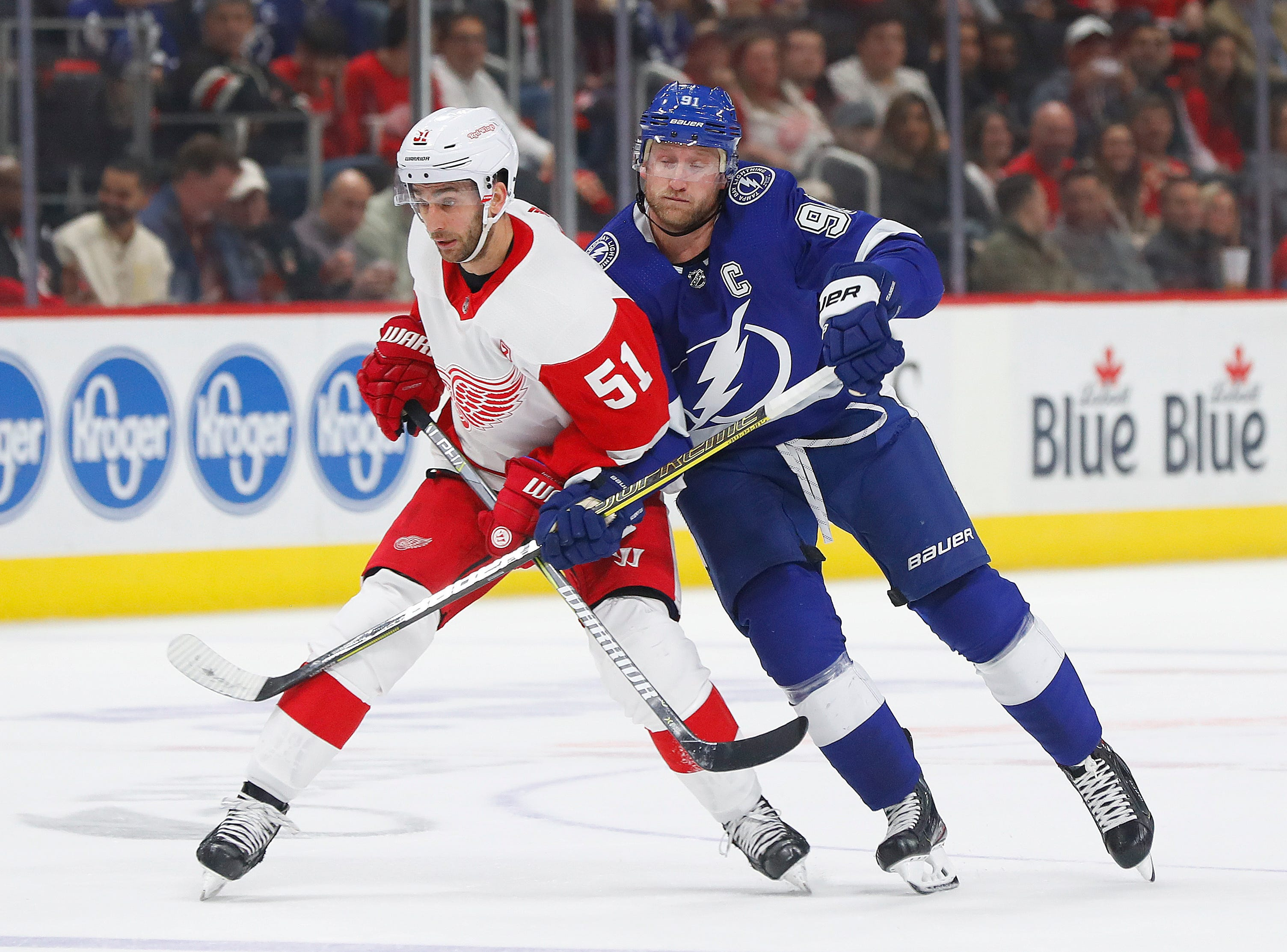Detroit Red Wings center Frans Nielsen (51) and Tampa Bay Lightning center Steven Stamkos (91) battle for position in the first period.
