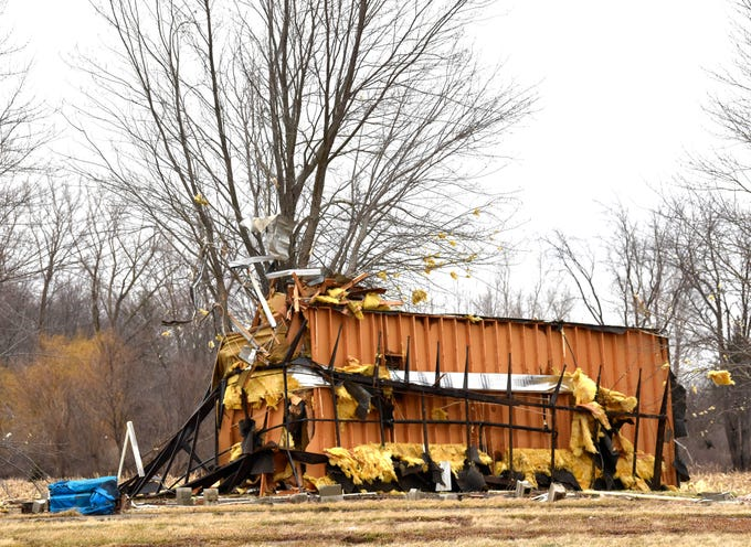 The mobile home was lifted off its foundation and wrapped around a tree at the end of Westminster Drive N. in Mount Morris. According to officials, the trailer has been vacant for at least 1.5 years.