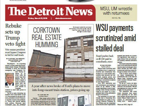 Front page of The Detroit News on Friday, March 15, 2019.
