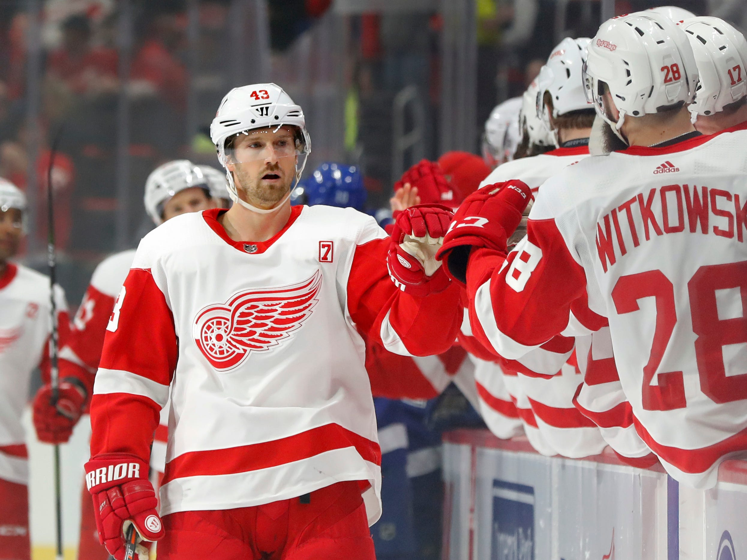 Detroit Red Wings' Darren Helm celebrates his goal against the Tampa Bay Lightning in the first period.