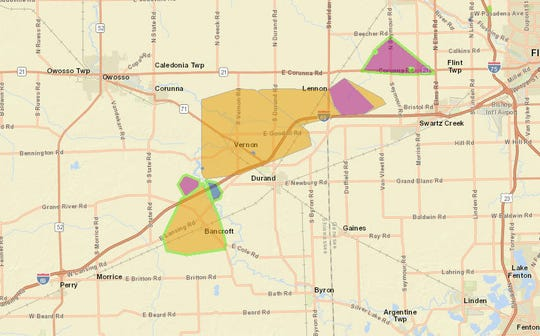 Power outages after a tornado touched down in parts of Shiawassee and Genessee counties.