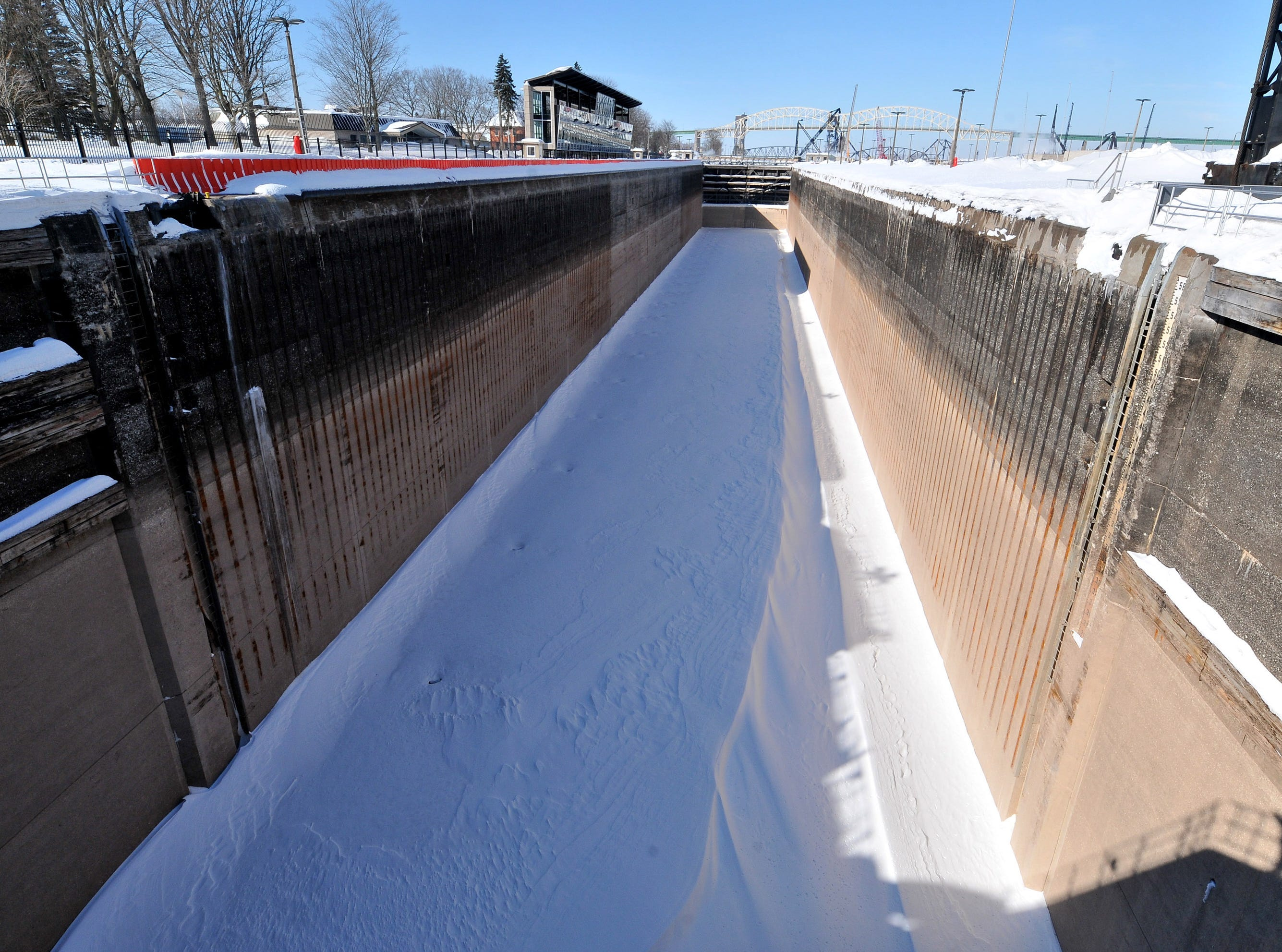 Winter maintenance and repairs in the MacArthur shipping lock in Sault Ste. Marie are nearing completion, in time for the opening of the Great Lakes shipping season on March 25. Snow and ice will be melted down with steam prior to allowing water back into the structure.