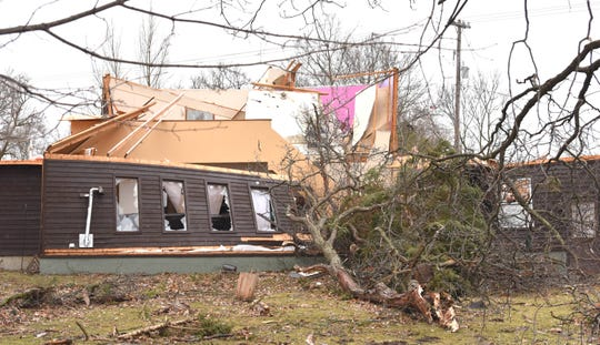 This house on the SE corner of Bancroft and Newburg Roads in Vernon Twp. is heavily damaged.