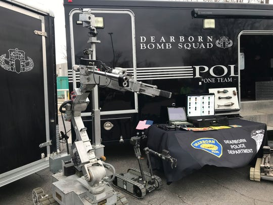 Dearborn Police show off bomb squad equipment that will be used to boost security at area mosques following an attack on a New Zealand mosque.