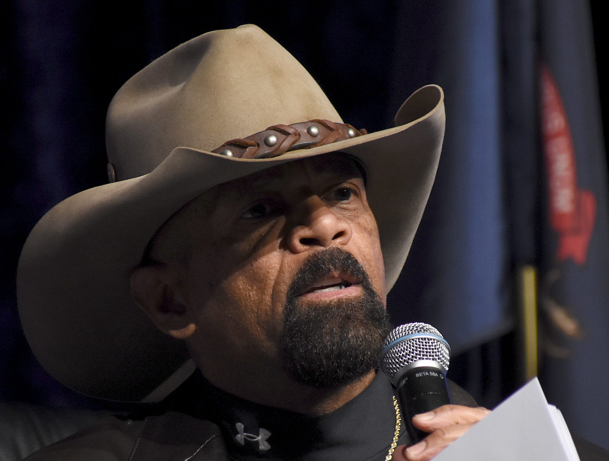 Former Milwaukee County Sheriff David A. Clarke Jr. got a lot of applause during his remarks talking about the reasons to build a border wall.